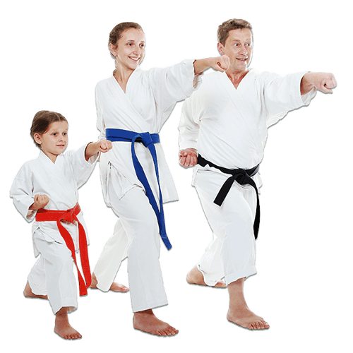 Martial Arts Lessons for Families in Arvada CO - Man and Daughters Family Punching Together