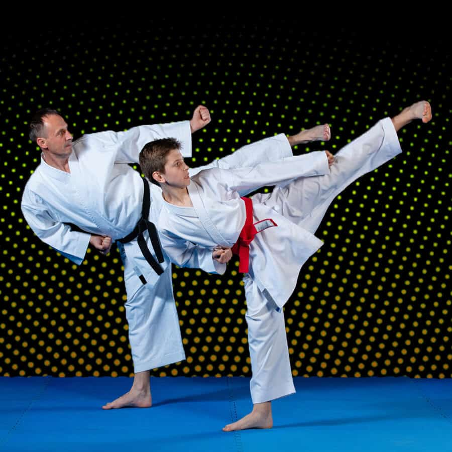 Martial Arts Lessons for Families in Arvada CO - Dad and Son High Kick