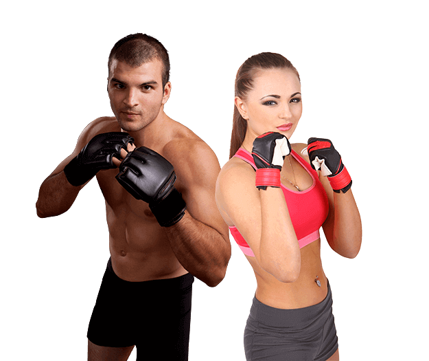 Mixed Martial Arts Lessons for Adults in Arvada CO - Hands up Fitness MMA Man and Woman Footer Banner