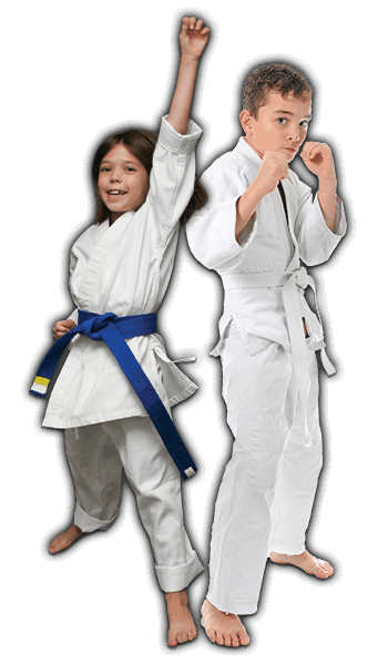 Martial Arts Lessons for Kids in Arvada CO - Happy Blue Belt Girl and Focused Boy Banner