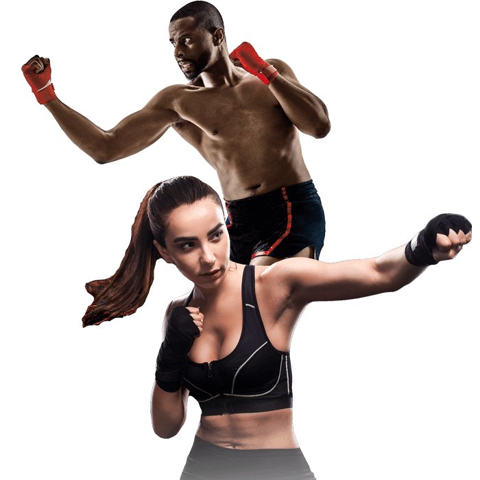Mixed Martial Arts Lessons for Adults in Arvada CO - Man and Woman Punching Hooks
